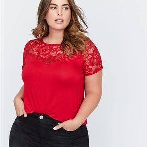 A-Line Short Sleeve Top with Lace NWOT